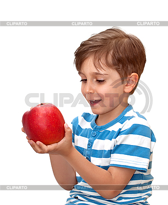 Junge mit großem roten Apfel | Foto mit hoher Auflösung |ID 3014400