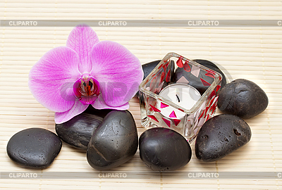 Różowa orchidea i zen kamienie z świeca | Foto stockowe wysokiej rozdzielczości |ID 3014415