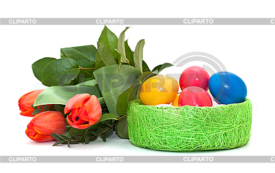 Easter eggs with bouquet of tulips | High resolution stock photo |ID 3014580