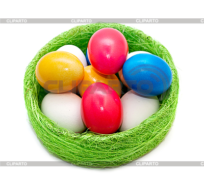 Easter eggs in wicker basket | High resolution stock photo |ID 3014581
