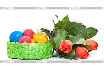 Easter eggs with bouquet of tulips | High resolution stock photo |ID 3014594