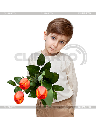 Junge mit Blumenstrauß | Foto mit hoher Auflösung |ID 3014600