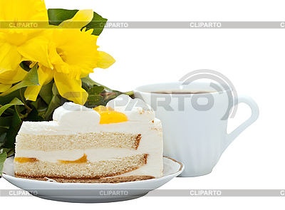 Żółty kwiat, herbatę i kawałek ciasta   Foto stockowe wysokiej rozdzielczości  ID 3014608