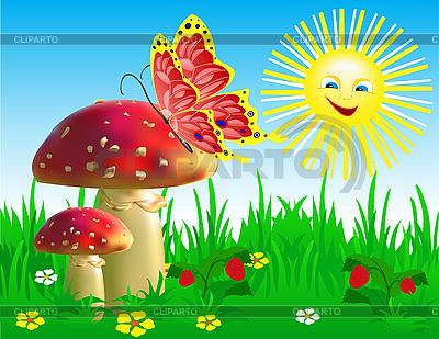 Sommerlandschaft mit Champignons und Schmetterling. | Stock Vektorgrafik |ID 3014691