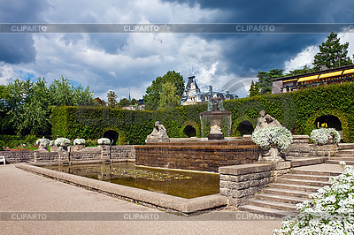 A fountain in the park of roses. Germany, Baden-Baden. | High resolution stock photo |ID 3018731