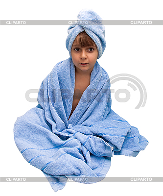 Little boy in the towel, isolated on white  | High resolution stock photo |ID 3018860