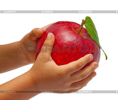 Roter Apfel in der Hände von Kinder | Foto mit hoher Auflösung |ID 3018864
