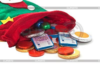 Socke mit Schokolade-Geld | Foto mit hoher Auflösung |ID 3018941
