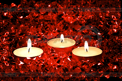 Lighted candles on red   High resolution stock photo  ID 3019016