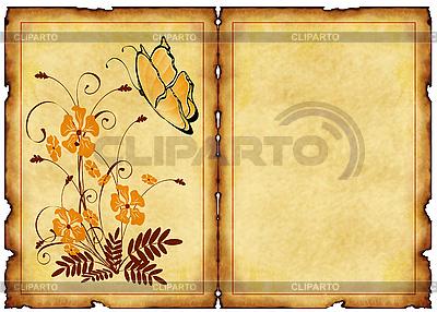 Alte Postkarte mit floralen Mustern | Illustration mit hoher Auflösung |ID 3019264