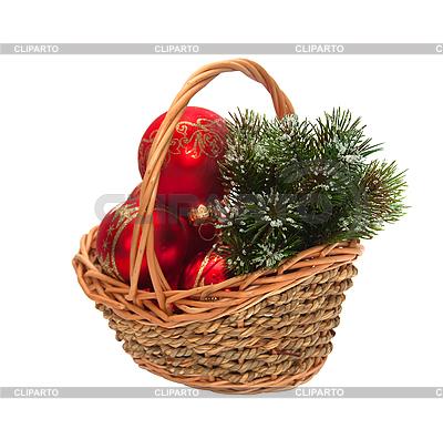 Weihnachtsschmuck im Weidenkorb | Foto mit hoher Auflösung |ID 3019269