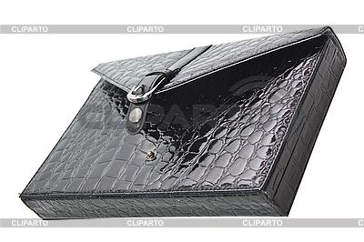 Schwarze Aktentasche aus Krokodilleder. | Foto mit hoher Auflösung |ID 3019296