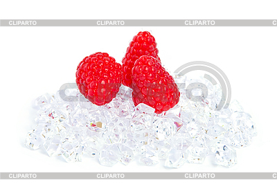 Ripe raspberries on the ice cubes. | High resolution stock photo |ID 3019305