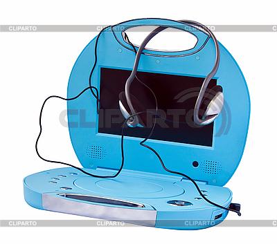 Przenośny odtwarzacz DVD ze słuchawkami | Foto stockowe wysokiej rozdzielczości |ID 3024399