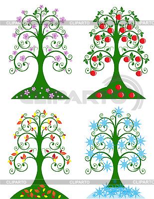 4 계절 나무 | 벡터 클립 아트 |ID 3027898
