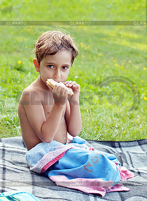 Boy eating sandwich at picnic | High resolution stock photo |ID 3037773