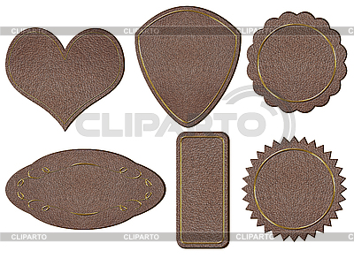 Leather labels with gold lettering   High resolution stock photo  ID 3037778
