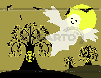 Owl, bats and ghost | Stock Vector Graphics |ID 3059470