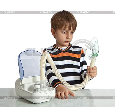 Little boy makes inhalation with nebuliser | High resolution stock photo |ID 3119954