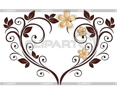 花朵图案的心 | 向量插图 |ID 3128268