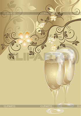 Karta ślub z szampanem kieliszki | Klipart wektorowy |ID 3128276