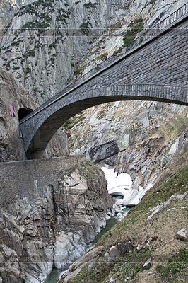 Devil`s bridge at St. Gotthard pass, Switzerland. Alps   High resolution stock photo  ID 3272672