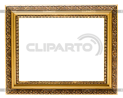 Empty gold plated wooden picture frame isolated | High resolution stock photo |ID 3015455