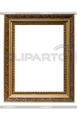 Empty gold plated wooden picture frame isolated | High resolution stock photo |ID 3015456