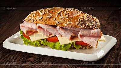 Ham sandwich on wooden background   High resolution stock photo  ID 5433358