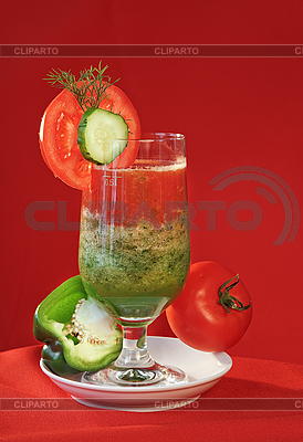 Vegetable fresh juice, tomato and cucumber   High resolution stock photo  ID 3016706