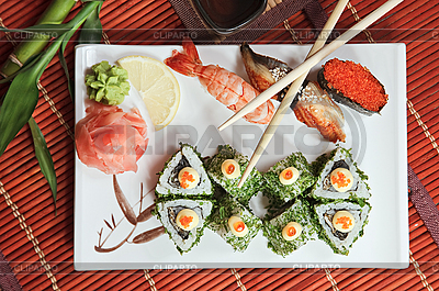 Bamboo rolls and sushi | High resolution stock photo |ID 3016716
