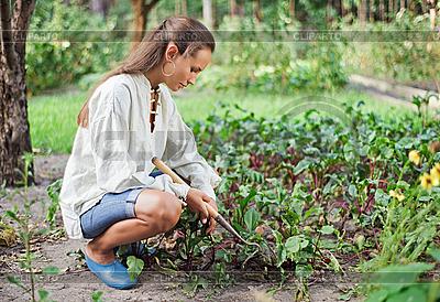 Junge Frau mit Hacke im Garten | Foto mit hoher Auflösung |ID 3016792