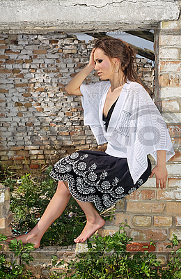 Beautiful Young Lady in ruined fenestra | High resolution stock photo |ID 3016839