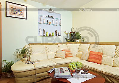 Part of Drawing-room Interior with beige corner leather Sofa   High resolution stock photo  ID 3016933