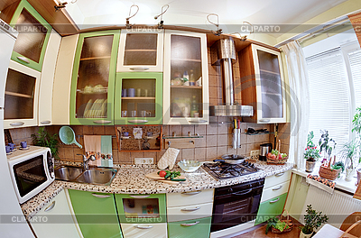 Grünes Küche-Interieur mit Utensilien | Foto mit hoher Auflösung |ID 3016939