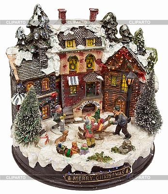Häuser bedeckten mit Schnee und spielende Kinder | Foto mit hoher Auflösung |ID 3016946