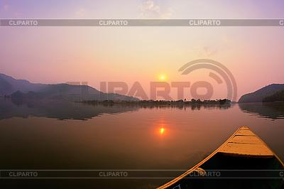 Beautiful sunrise landscape on Phewa lake, Pokhar   High resolution stock photo  ID 3017047