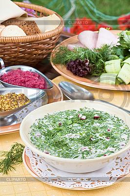 Summer kvass soup (okroshka) on served table | High resolution stock photo |ID 3017204