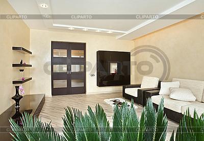 Современная гостиная, интерьер в теплых тонах | Фото большого размера |ID 3017211