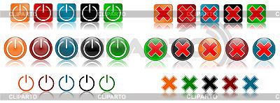 Ikony zasilania i anulowanie | Stockowa ilustracja wysokiej rozdzielczości |ID 3017422