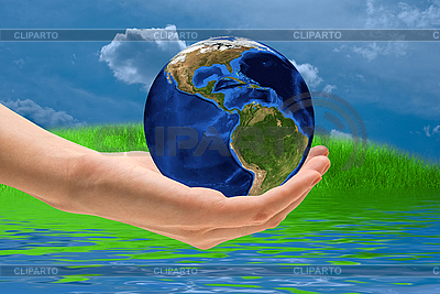 Take care the world - Earth on palm | High resolution stock photo |ID 3018975