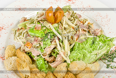 Salad of meat, vegetable and dried crust | High resolution stock photo |ID 3019191
