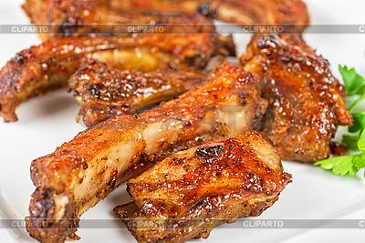 Pieczona wieprzowina żebro | Foto stockowe wysokiej rozdzielczości |ID 3019482