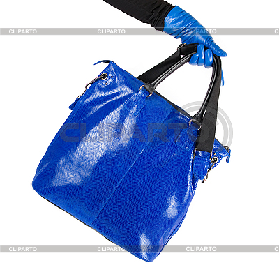 Blue women bag at hand | High resolution stock photo |ID 3019597