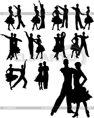 Tanzende Paar-Silhouetten | Illustration mit hoher Auflösung |ID 3019649