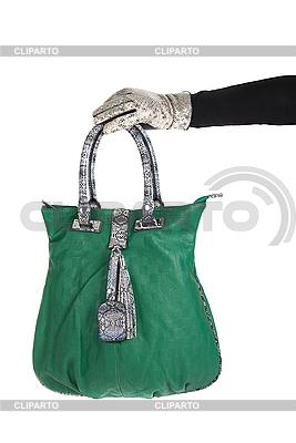 Green women bag at hand   High resolution stock photo  ID 3020917