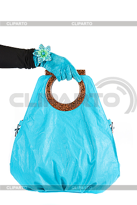 Blue woman bag at hand | High resolution stock photo |ID 3027352