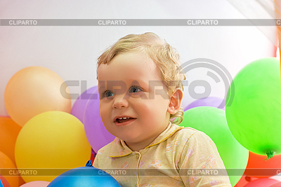 Baby boy with colorful air balloons | High resolution stock photo |ID 3027525