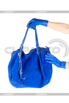 Blue women bag at hand | High resolution stock photo |ID 3028502