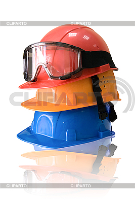 Many colored hardhats and goggles   High resolution stock photo  ID 3029408